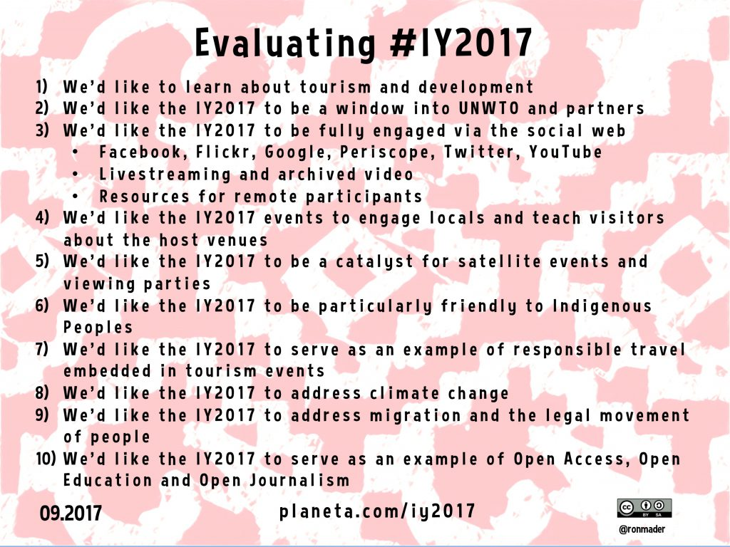 Evaluating the International Year of Sustainable Tourism for Development #iy2017
