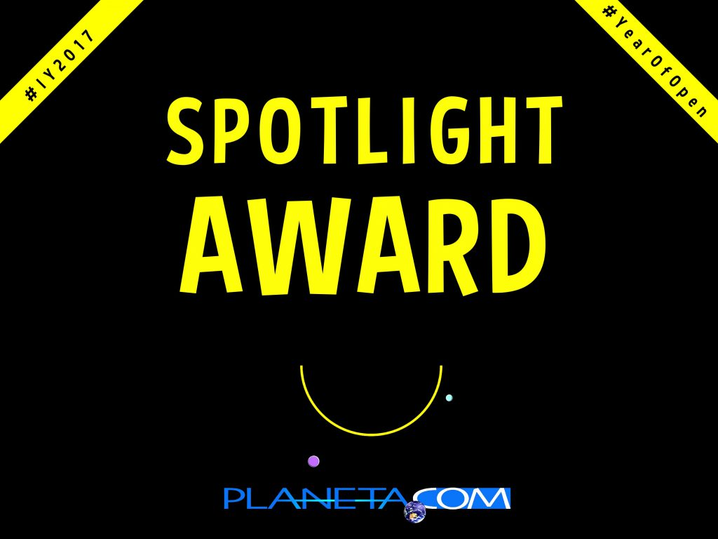 Planeta.com's #IY2017 #YearOfOpen Spotlight Award